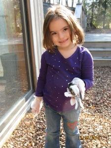 Lila with bird