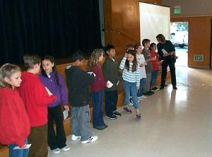 students lined up